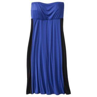 Pure Energy Womens Plus Size Strapless Maxi Dress   Blue/Black 1X