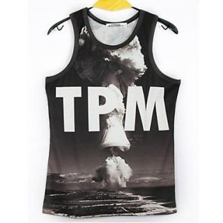 Mens 3D Series Mushroom Cloud Printing Tight Movement Vests