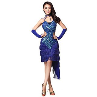 Performance Dancewear Polyester With Sequins And Rhinestone Latin Dance Dress for Ladies(More Colors)