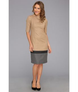 Pendleton Petite Worsted Wool Flannel Colorblock Dress Womens Dress (Khaki)