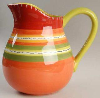 Hot Tamale 112 Oz Pitcher, Fine China Dinnerware   Red,Orange,Green,Yellow,Strip