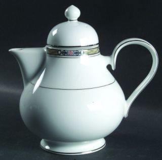 Noritake Canova Teapot & Lid, Fine China Dinnerware   Green/Gray Band,Pink Rose,