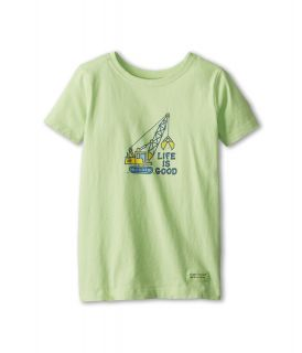 Life is good Kids Crawler Crane Crusher Tee Boys T Shirt (Green)
