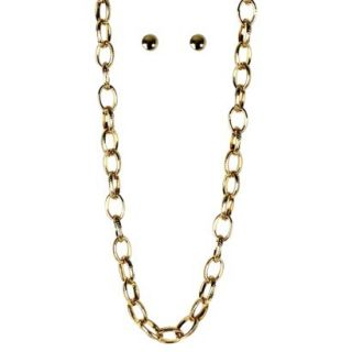 Stud Earrings and Chain Necklace Set   Gold