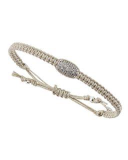 Crystal Studded Barrel Bead Metallic Cord Bracelet, Silver
